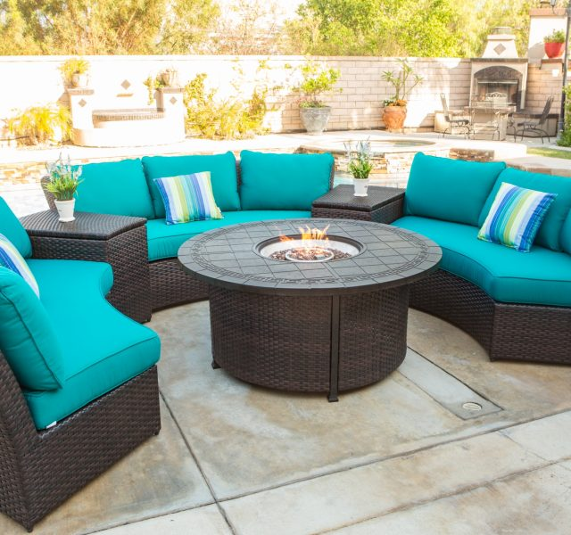Teal patio furniture, outdoor seating and table