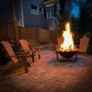 Outdoor fire features: Cast iron fire pit at night