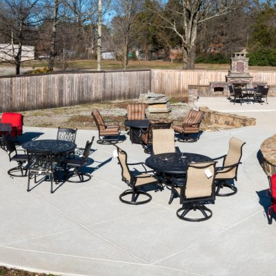 Range of chairs displayed at Collierville, Memphis TN. Outdoor Living store