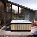 Caldera spa bubbling on stone patio