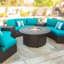 Blue Aztec sectional outdoor seating