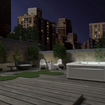Caldera paradise spa on rooftop decking