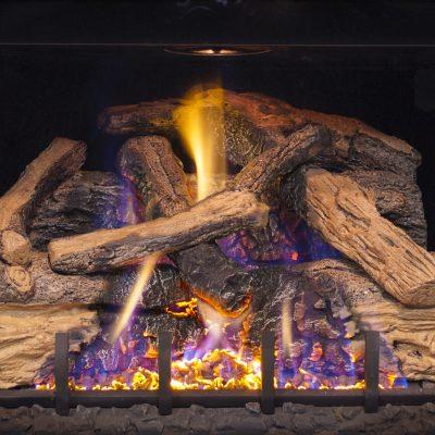 Oak outdoor fireplace feature