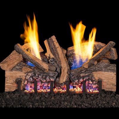 Split oak outdoor fireplace