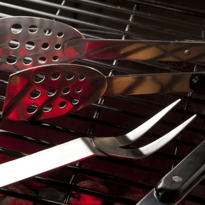 Grill accessories: bbq tools resting on grill