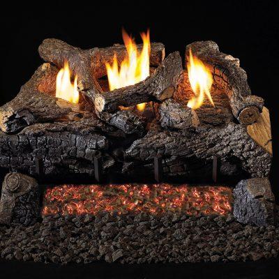 Evening Fyre gas logs outdoor fireplace