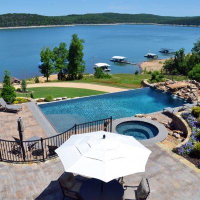 Infinity pool overlooking lake