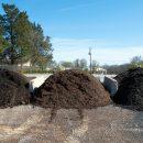 Three piles of mulch