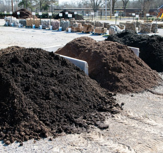 Heap of mulch for sale at Outdoor Living store