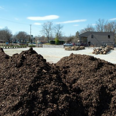 Mulch in yard at Outdoor Living store