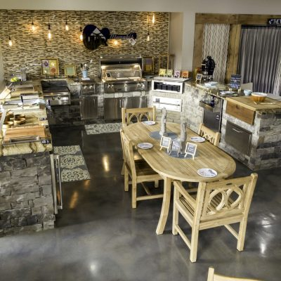 Outdoor ovens and furniture on display in store