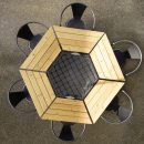 Aerial view of 6 person patio table with chairs