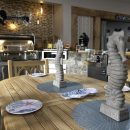 Seahorses decorating wooden outdoor kitchen table in store