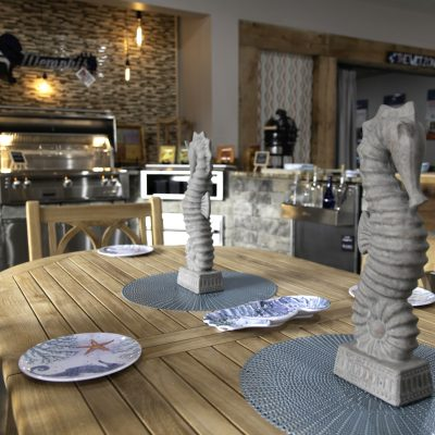 Wooden table and chair set decorated