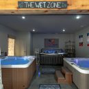 Hot tubs on display in store