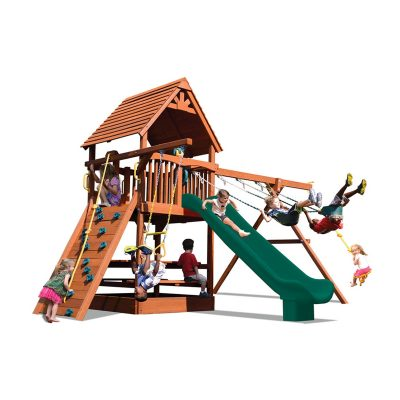Backyard playset with green slide and swings