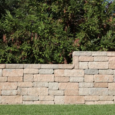 Retaining wall blocks between lawn and trees