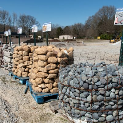 Landscaping rocks and stone on display at Outdoor Living, Collierville