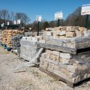 Pallets of landscaping slabs and stones