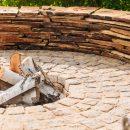 Paver stones building picnic fireplace