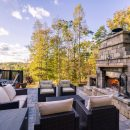 Natural stones used to build spectacular outdoor fireplaces in garden