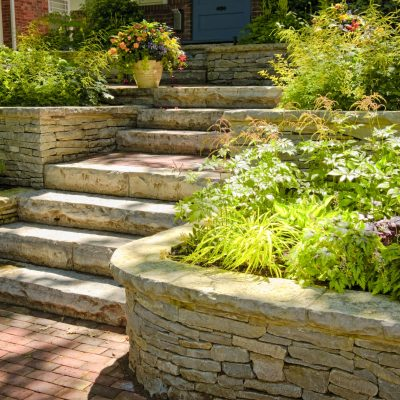Natural stone slabs for building garden steps