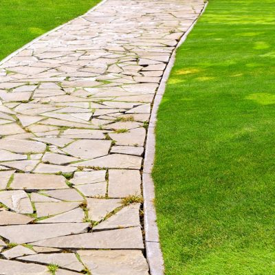 Flagstone paver stones creating path on lawn