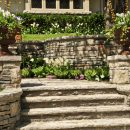 Natural stone steps in landscaped garden