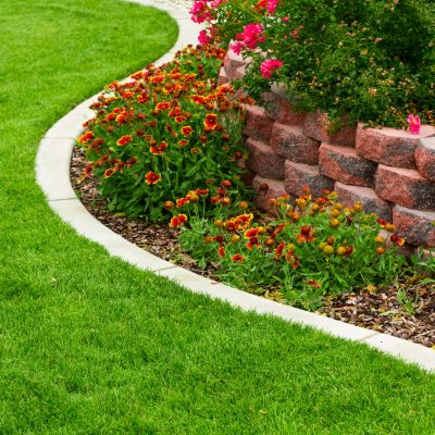 lawn edging next to flower bed