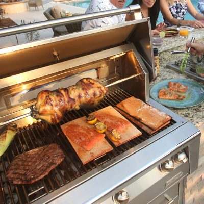 food cooking on alfresco kitchen grill