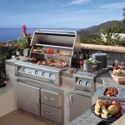 outdoor kitchen area overlooking the sea